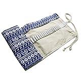 fablcrew Canvas Pencil Wrap Rollo de lápices estuche bolsa de almacenamiento para artista escuela oficina 62 * 21 cm 48 Holes