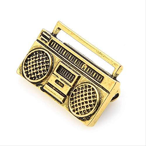 Broschen Und Pins Vintage Kostüm - XZFCBH Vintage Retro Radio Recorder Brosche Pins Frauen Kostüme Musik Pins Designer Schmuck