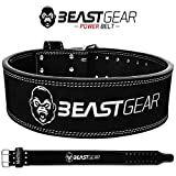 Beast Gear Powerbelt – Premium Double Attaches d'haltérophilie Ceinture – 10,2 cm X 10 mm Cuir Nubuck Ceinture d'haltérophilie avec Advanced Vis Rivets, Noir, Petit