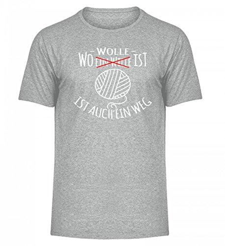 Shirtee Hochwertiges Herren Melange Shirt - Wo Wolle ist, ist Auch ein Weg Sportgrau Heather