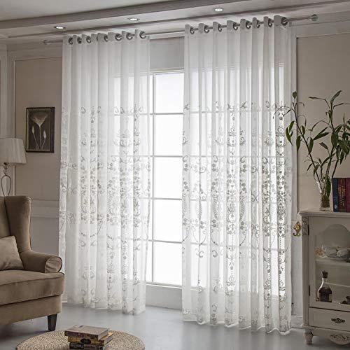 Naturer Vorhang Transparent Weiß ösen 2er Set 140x225 Mandala Blumen Muster Voile Gardinen Wohnzimmer Modern Set Weiss