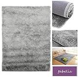 Hochflor Teppich Shaggy Gentle Luxus - Satin Luxury - Weich und Handgetuftet/In vielen bunten Farben (120 cm x 170 cm, Silber/Grau)