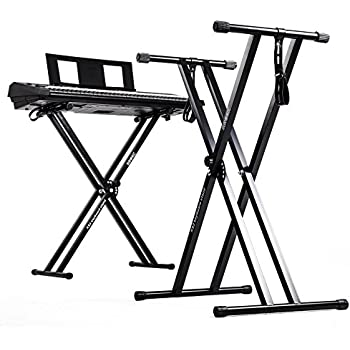 Duronic Keyboard Stand KS2B Black Height Adjustable High Quality Twin X Frame Music | Piano | Quick Pull Release Mechanism and Screw and Strap To Secure Keyboard To the Stand