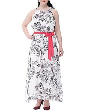 eb0a06c22bea Moollyfox Donna Fiorale Abito Lungo Senza Maniche Chiffon Maxi Vestito da  Cocktail Abito da Partito Bianco