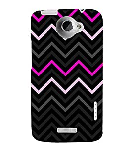 Pink Fashion Chevron 3D Hard Polycarbonate Designer Back Case Cover for HTC One X
