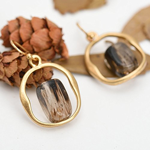 Limiz Natural Stone Earring, Fashion Retro Burning Gold Process Citrine Natural Stone Earring Pendant Alloy Geometric Type Earring Europe and America Personality Creative Round Earring Women's