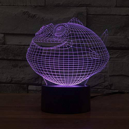 Nachtlicht Illusion Visuelle Fette Fische Led Tischlampe Usb 7 Farbe Nachtlicht Schlafzimmer Nacht Tier Beleuchtung Hauptdekoration -