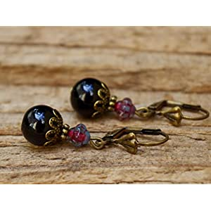 Vintage Ohrringe mit Glasperlen - schwarz & beere