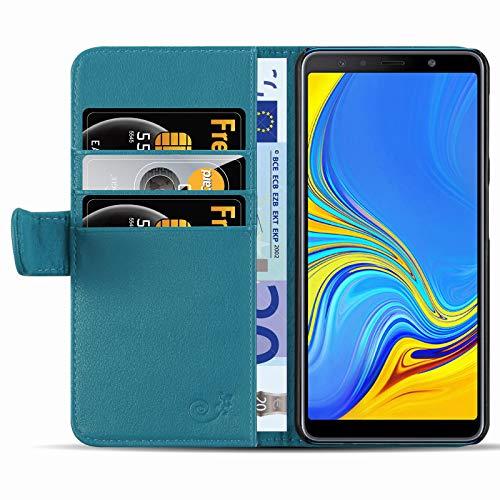 JAMMYLIZARD Lederhülle für Samsung Galaxy A7 2018   Ledertasche [ Classic Wallet Tasche Series ] Leder Book Case Hülle Flip Cover Schutzhülle mit Kartenfach, Azurblau Series Leder Tasche Case
