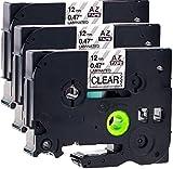 3x Schriftbandkassette für Brother TZe-131 schwarz auf transparent 12mm breit x 8m lang laminiert geeignet für Brother P-Touch 1000W 1010 1090 1830VP 2030VP 2100VP 2430PC 2470 2730VP 7100VP 7600VP H100R H105WB H150WB H300 D200VP D400 D600VP P750W und andere P-Touch Geräte kompatibel zu TZE-131