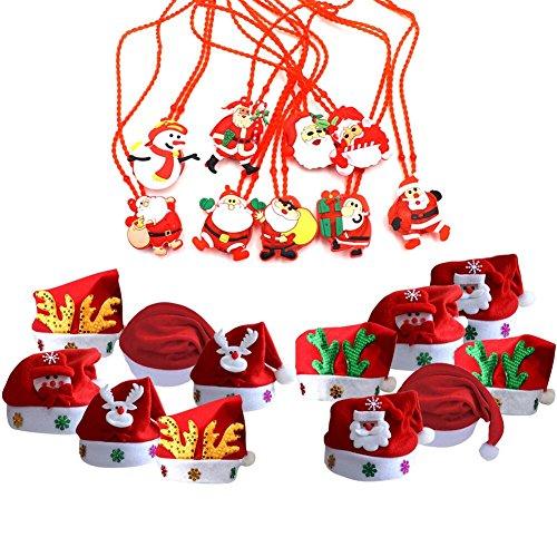 Kostüm Muster Kinder Weihnachtsmann (TOAOB 12 Stück Weihnachtsmütze Nikolausmützen Weihnachtsmann Hüte Mützen Weihnachten Cap mit 12 Stück Leuchtendes Muster Weihnachtsmann Halskette Xmas Abendessen Partei)