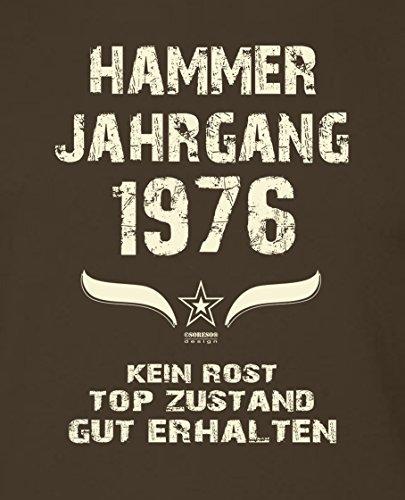 Geschenk zum 41. Geburtstag :-: Geschenkidee Herren kurzarm Geburtstags-T-Shirt mit Jahreszahl :-: Hammer Jahrgang 1976 :-: Geburtstagsgeschenk Männer:-: Farbe: braun Braun