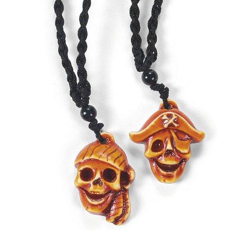 Halskette Pirat (Piratenparty, Piraten Partyartikel, Kindergeburtstag, Geburtstagsparty (Piraten Halsketten mit Totenkopf 6 Stück))