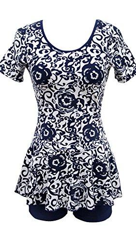 Ecupper Women's One Piece Floral Swimwear Boyleg Short Sleeve Swimsuit