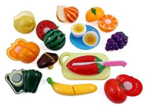 Liberty Imports Happy Cooking Kitchen Fun Cutting Fruits & Vegetables Food Playset for Kids