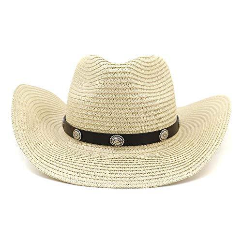 WGYXM Hut, Männer und Frauen Western Cowboy Strohhut, Outdoor-Strandhut, Sonnenschirm Hut, beige, M