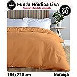 ADP Home - Funda nórdica Lisa, Calidad 144Hilos, 16 hermosos colores, cama de 90 cm - Naranja