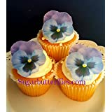 Edible Wafer Paper Pansy Flower Cake Decorations Cupcake Toppers Set Of 12