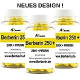 3 Dosen Berberin 250+ mit Zink, Bioperine® und Banabablätter | 270 Kapseln | 100 % VEGAN | Gewichtsregulierend und Diätbegleitend | Entzündungshemmend | Blutzuckerregulierend | Hohe Bio-Verfügbarkeit | Deutsche Pharmaqualität MADE IN GERMANY |