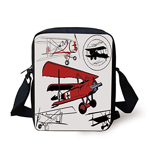 CBBBB Vintage Airplane Decor,Collection of Various Biplanes Nostalgic Antique Silhouettes,Red White Black Print Kids Crossbody Messenger Bag Purse -