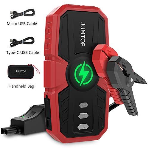 JUMTOP Avviatore Auto Portatile 1500A Picco 12800mah Portatile Salto Auto (8L Gas/Motore Diesel 6L) Booster Batteria Automatica Power Starter e Telefono con Doppia Porta Smart USB LED