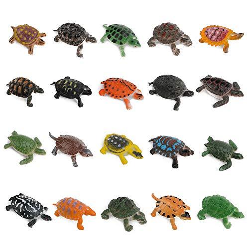 OOTSR 20 Pezzi Giocattoli Modello Tartaruga, Realistico Oceano Animale Mini Tartarughe di plastica per Strumento didattico/Regalo per Feste/Giocattolo per Vasca/Decorazione di Torte