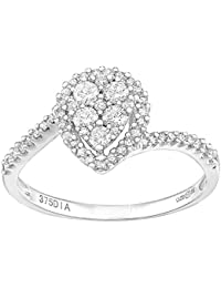 Naava 9ct White Gold Teardrop 0.40ct Halo Diamond Twist Engagement Ring