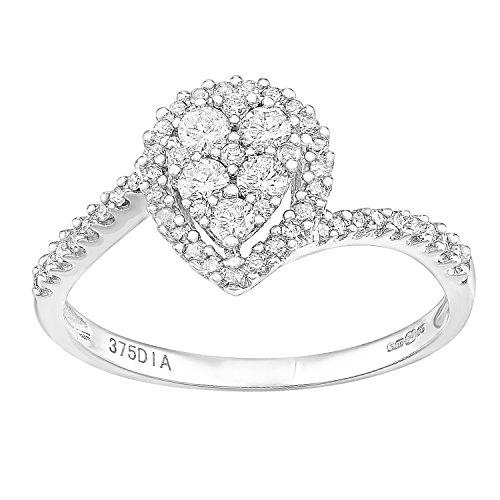 Naava Damen-Ring 9 K Weißgold Diamant 0,40 ct Rundschliff (Diamond Cut Engagement Cushion)
