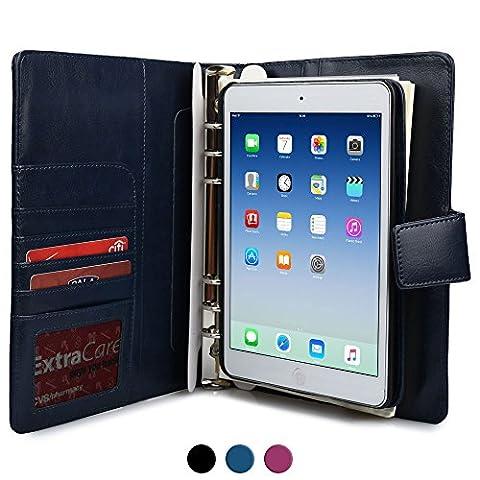 iPad Mini 1/2/3 Case with Notepad, COOPER FOLDERTAB Business Travel Luxury PU Leather Carrying Portfolio (Di Apple Desktop Pelle)