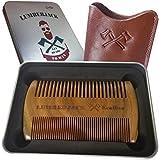 Bartkamm Doppelseitiger, regalo para los hombres - Un Holzkamm la barba y Lederbezug, de bolsillo, de madera de sándalo, rara y espesor de dientes, antistatische Holzkamm, bien puede utilizarse junto con Bartöl & bálsamo