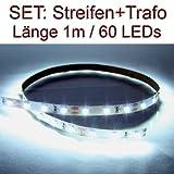 SET LED Strip Streifen WEISS 1 Meter inkl. Netzteil PCB weiss