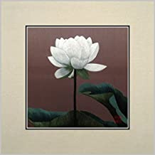 King Silk Art 100% Handmade Embroidery Multiple Unframed 30x30 cm White Lotus Blossom Oriental Wall Hanging Art Asian Decoration Tapestry Artwork Picture Gifts 36150U_36151W
