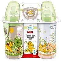 NUK 10225094 Disney König der Löwen Set mit je 1 First Choice Flasche 300 ml mit Silikonsauger, Active Cup mit Silikon-Trinktülle