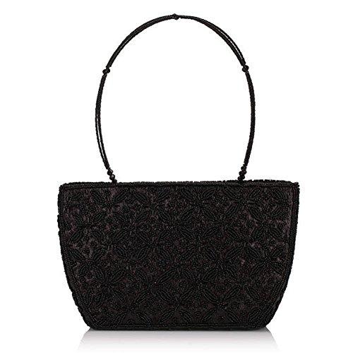 ERGEOB® Donna Clutch sacchetto di sera fatto a mano Classic borsetta perla taschino diamante festetaschino nero