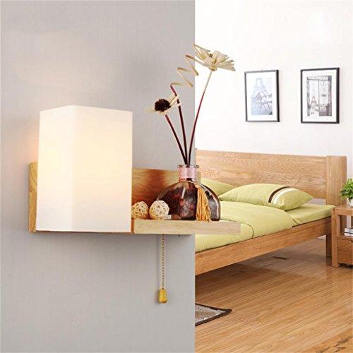 TRRE Einfache moderne feste hölzerne Wand-Lampe LED-Schlafzimmer-Wohnzimmer-feste hölzerne Wand-Lampe (Farbe : Links) (Lampe Hölzerne)