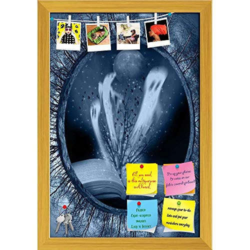 Halloween Stories Printed Bulletin Board Notice Pin Board | Golden Frame 16 X 23.5Inch ()