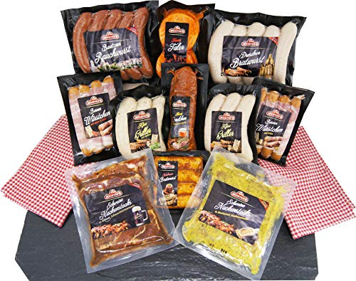 Barbecue Party Grillpaket mit Bratwürsten Steak Käsegriller Grillende Grillfleisch Rauchwurst - 11x Grillspezialitäten -