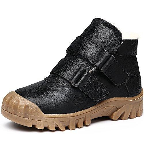 Wasserdicht Leder Schuhe Kinder Schule Sneaker Stiefel Anti-Rutsch Draussen Schuh Schwarz 30 (Jungen-leder-kleid-schuhe)