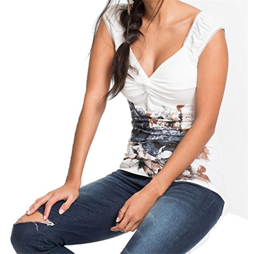 CYBERRY.M T-shirt Summer Femme Sans Manche Fleur T-shirt Blouse Gris