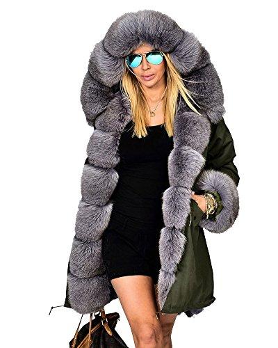 Roiii - Parka invernale con cappuccio in pelliccia sintetica, capospalla di lusso, taglie S, XL, XXXL Black