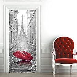 OuYou 3D Sticker de Porte Parapluie Tour Eiffel Trompe l'oeil PVC Imperméable pour Chambre Salle de Bain Cuisine Décoration 77x200cm