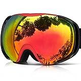 ZIONOR Lagopus X8 Snowboard Occhiali da Sci con Staccabile Lente Anti Nebbia Protezione UV400 Casco Compatibile Fix-point Anti-scivolo Cinghia Tecnologia