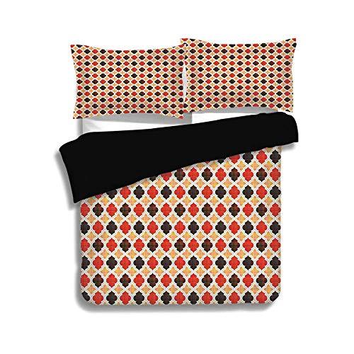 Schwarzer Bettbezug Set, geometrisch, antik Chevron mit viktorianischen Old Fashion Trippy Mosaik Kurven, blass orange rot dunkel Taupe, dekorative 3-teilige Bettwäsche Set von 2 Pillow Shams, TWIN-Gr (Twin Bettwäsche Für Mädchen Chevron)