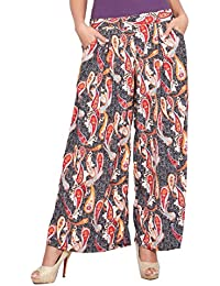 Jublee Women's Black & Red Rayon Palazzo