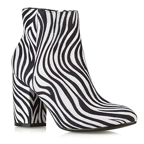 ESSEX GLAM Frauen Lässig Block Mittelhoher Absatz Knöchel Stiefel Damen Elegant Party Booties Schuhe (UK 3 / EU 36 / US 5, Zebra Wildlederimitat) -