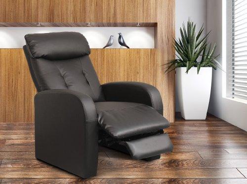 Relaxsessel Fernsehsessel TV Sessel verstellbar Liegefunktion Kunstleder Schwarz - H-5610C/1413