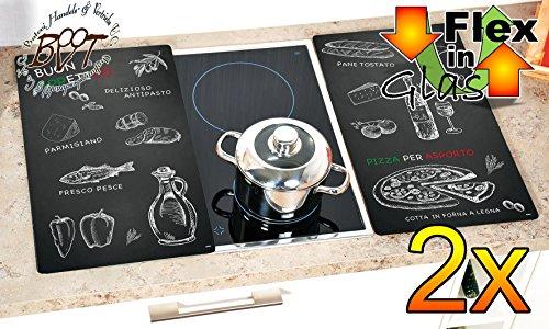 Grill-, Wand- & Herdabdeckplatten ca. 0,8 cm HOCH, 2-tlg. Set schwarz-weiß, Glasdesign Italien, Herdabdeckung + Spritzschutz Glas, Herdblende,Herdabdeckplatte für Elektroherd Kochfeld-Abdeckplatte - auch als Grill-Schneidebrett Maße viereckig je ca. 52 cm x 30 cm x 0,8 cm - Herdplatten Abdeckung Schneidbretter Glaskeramik Kochfelder Kochplatten, Herdset einzeln doppel doppelt rund, Kinderschutz für Herdfeld Herdglas Ofen Backofen, Herdzubehör, Kochfeldplatte (Doppel-holz-grill)