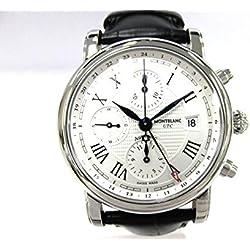 Montblanc Star Chronograph UTC Automatic/Clock/Men White-Silver Dial/Speaker Steel/Alligator Strap Black