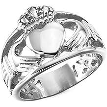MunkiMix Acero Inoxidable Anillo Ring Plata Tono Nudo Celta Irlandesa Amistad Amor Claddagh irlandés Corazón Heart
