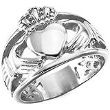 MunkiMix Acero Inoxidable Anillo Ring Plata Tono Nudo Celta Irlandesa Amistad Amor Claddagh irlandés Corazón Heart Real Rey Corona Talla Tamaño 25 Hombre